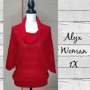 EUC Alyx Woman Red Cowal Neck Sweater - Size 1X